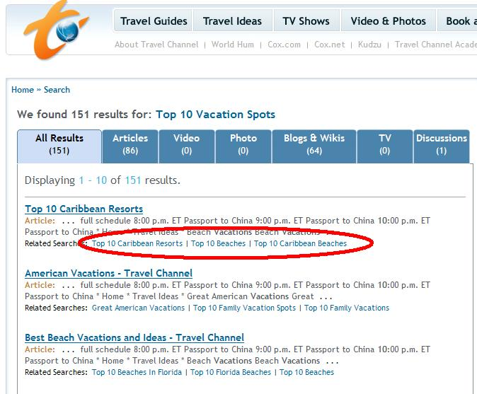 Travel Channel Related Searches - Top 10 Vacation Spots