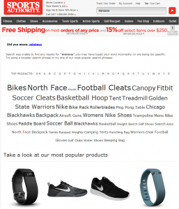 Sports Authority SLI Systems Site Search
