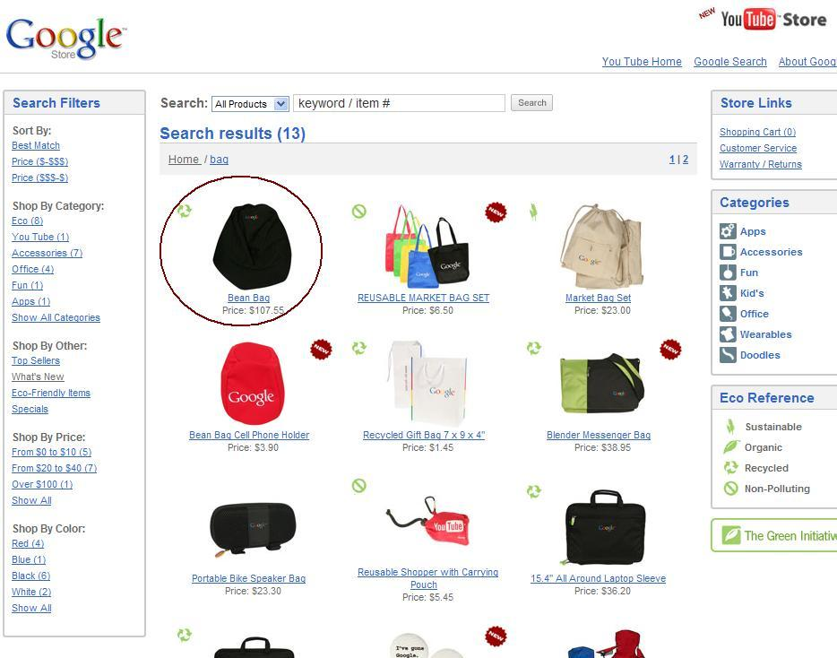 googe commerce search - bag