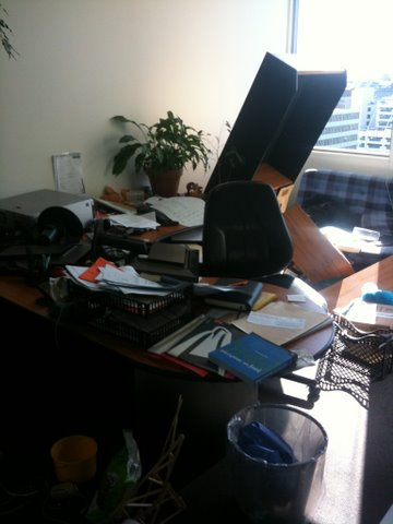 This is typical of what our offices looked like after the quake. Although, to be fair, this guy was always pretty messy.