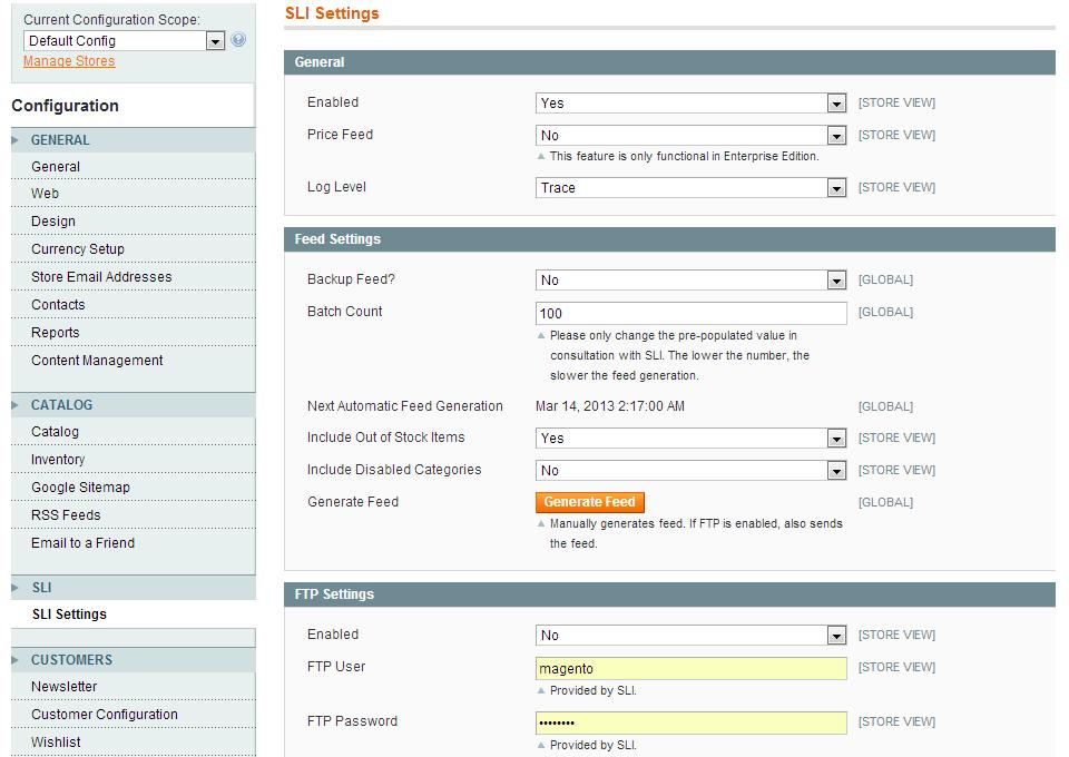 SLI LSC-M1 Extension Admin User Interface
