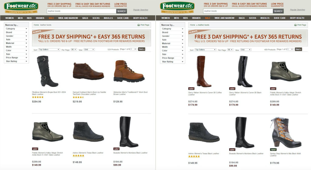 E-commerce Personalization - Footwear Etc Screenshot