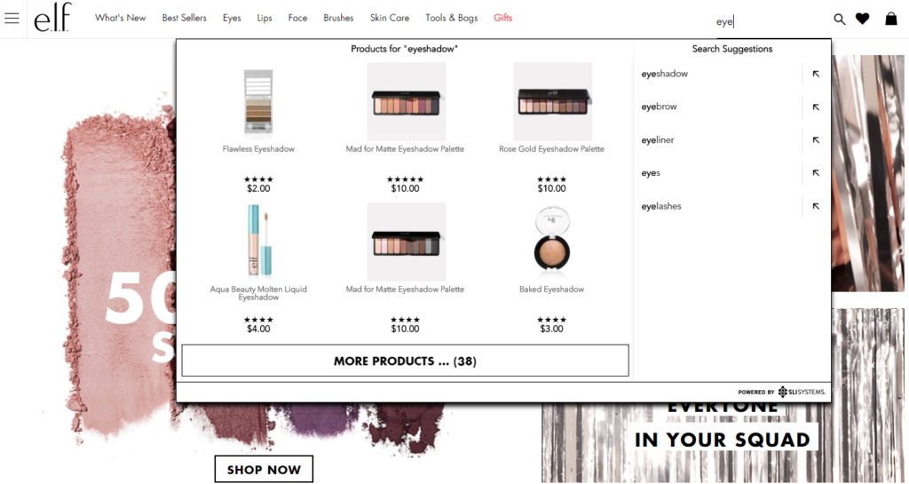 Visual Merchandising Autocomplete E-commerce Site Search - e.l.f. Screenshot