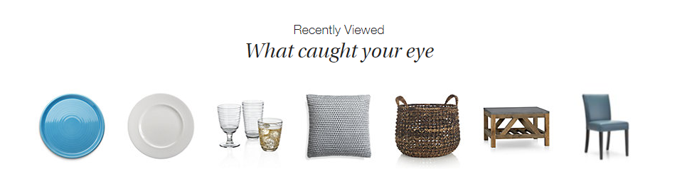 Ecommerce Merchandising Strategy Product Recommendations - Crate and Barrel Home Page Screenshot