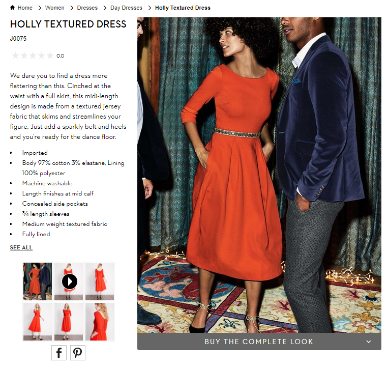 Ecommerce Visual Merchandising - Boden Product Page Screenshot