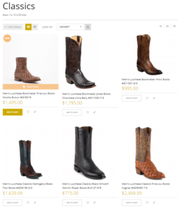 ecommerce merchandising category page buy now button - Allen's Boots