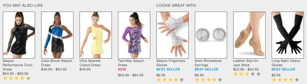ecommerce product recommendations engine - Dancewear Solutions