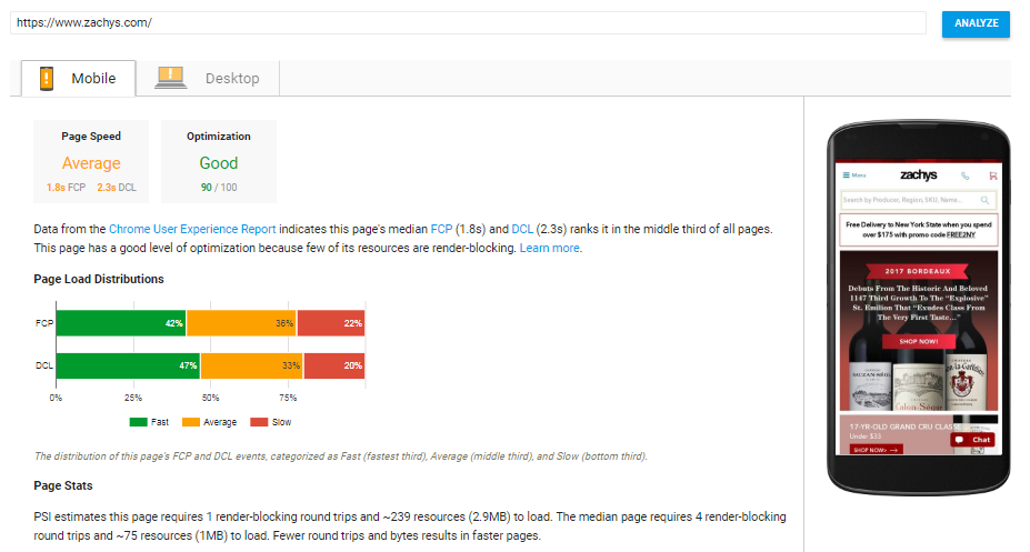 Google will give your site's speed a clear rating and insight on how to improve.