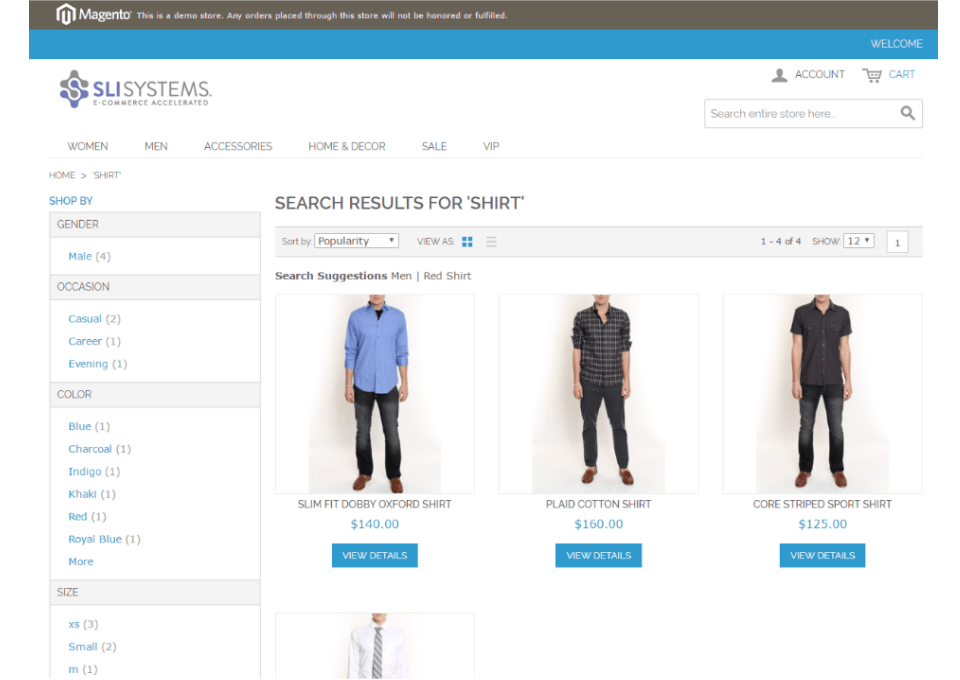 SLI Search Results on Magento Demo Site